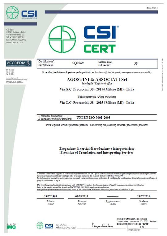 Certificazione ISO Agostini Associati: servizi di traduzione e interpretariato