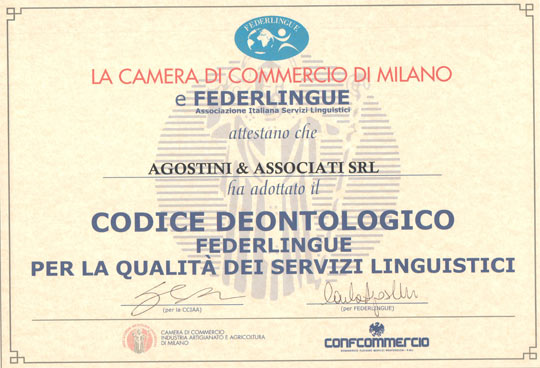Agostini Associati: Codice Deontologico Servizi Linguistici